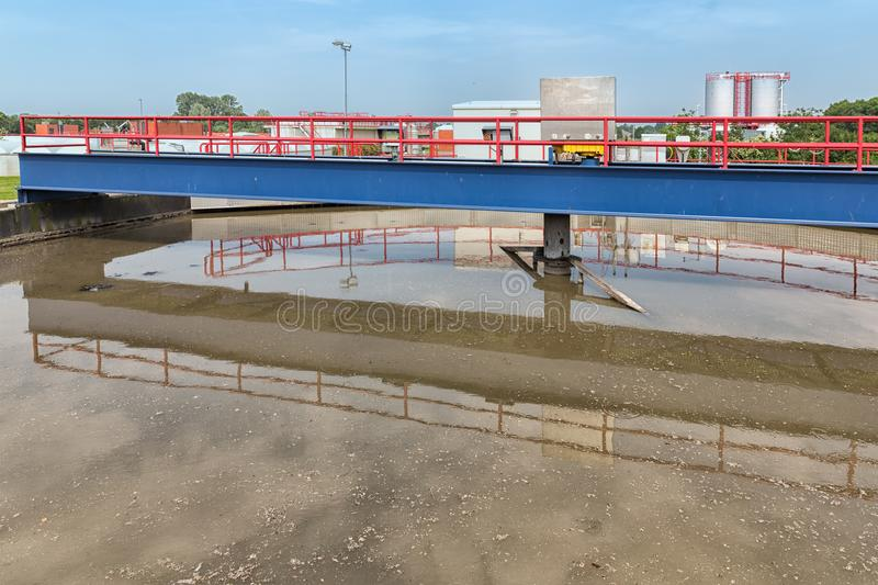 Dirty water in primairy sedimentation tank of wastewater treatment plant royalty free stock photos
