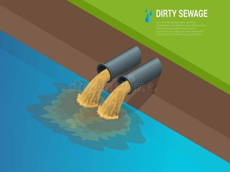 Dirty water stems from the pipe polluting the river Discharge of liquid chemical waste. vector illustration