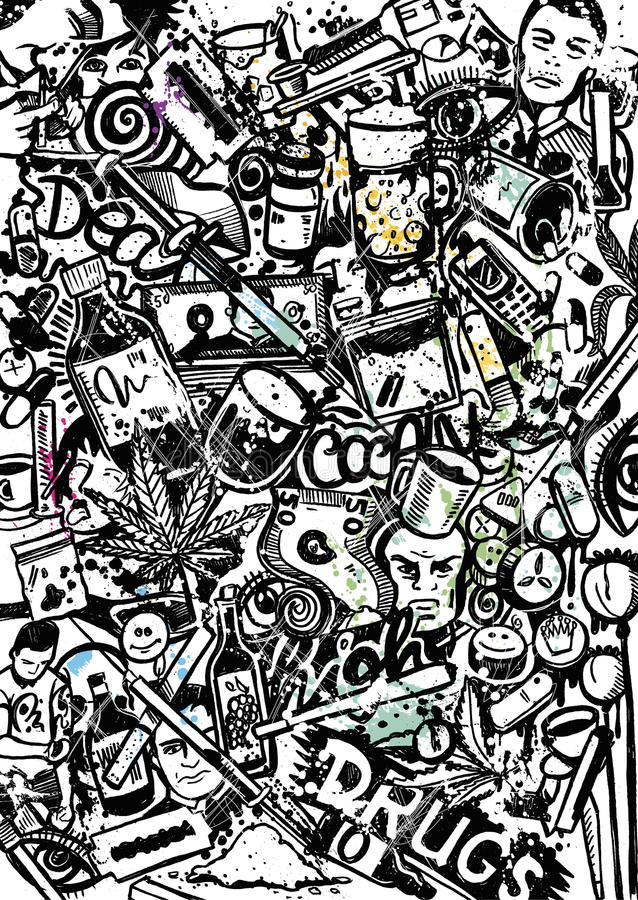 The dirty World of Drungs. Digital Handdrawing Drugs doodle, created on paper royalty free illustration