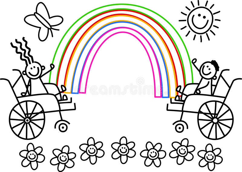 Disabile colorimi bambini illustrazione di stock