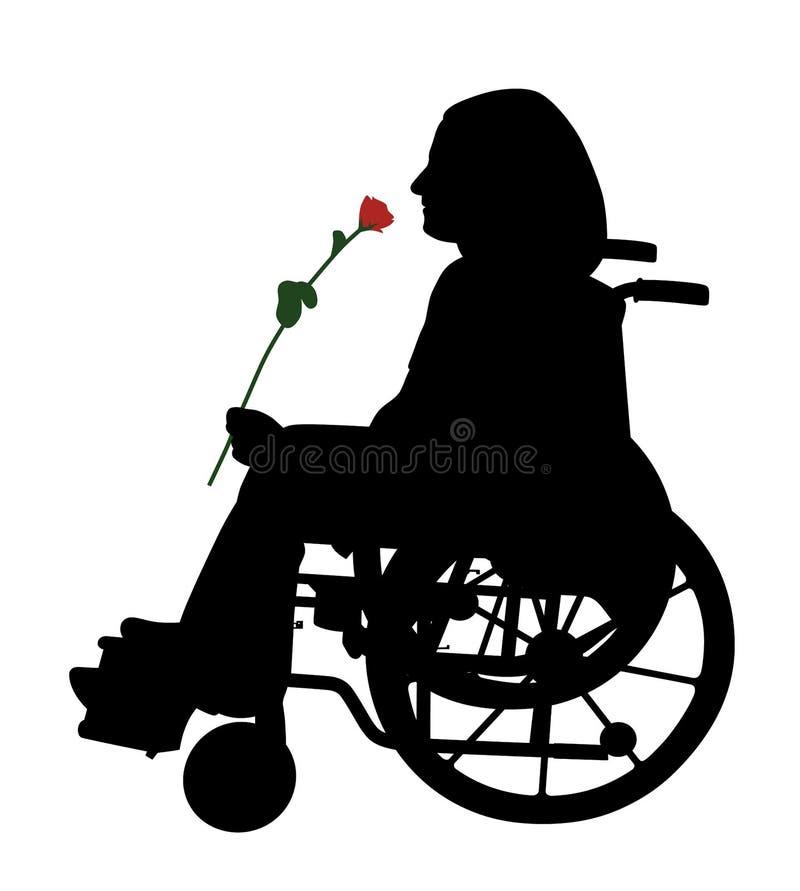 Disabile in sedia a rotelle con la rosa rossa illustrazione vettoriale