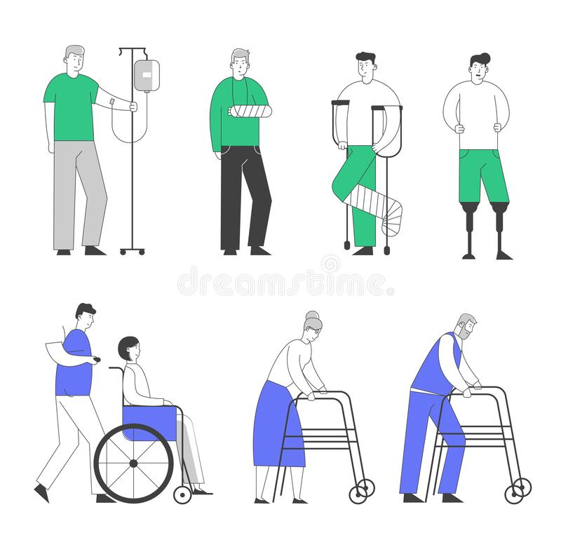 Disability Big Set of Old and Young Disabled People Male and Female Characters Using Wheelchair, Crutches vector illustration