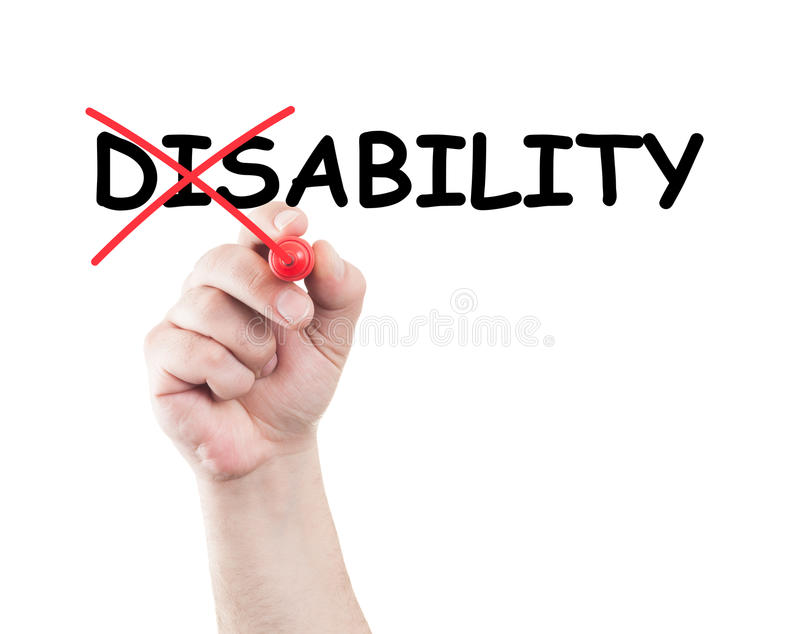 Disability. Concept written by hand using a marker on transparent wipe board with white background and copy space stock photography