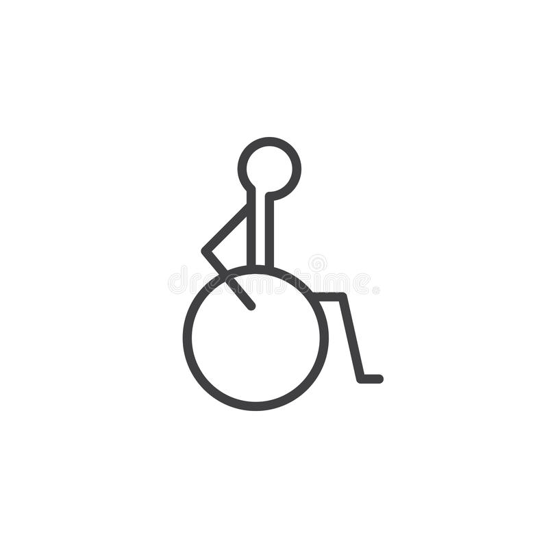 Disability, handicap line icon, outline vector sign, linear style pictogram isolated on white. Symbol, logo illustration. Editable stroke. Pixel perfect royalty free illustration