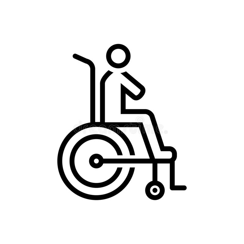 Black line icon for Disability, reasonable and accommodation. Black line icon for Disability, reasonable, logo, miscellaneous and accommodation vector illustration