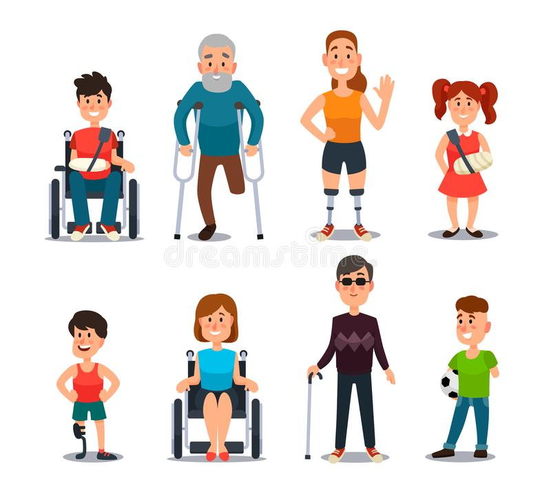 Disability people. Cartoon sick and disabled characters. Person in wheelchair, injured woman, elderly man and sickness. Disability people. Cartoon sick and vector illustration