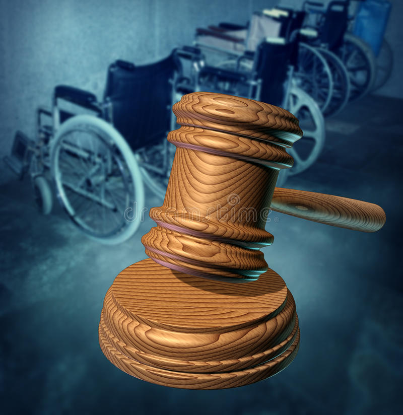 Disability Rights. And fighting in a court of law for equal opportunity to citizens that are handicapped or physically challenged to access services as a group stock illustration