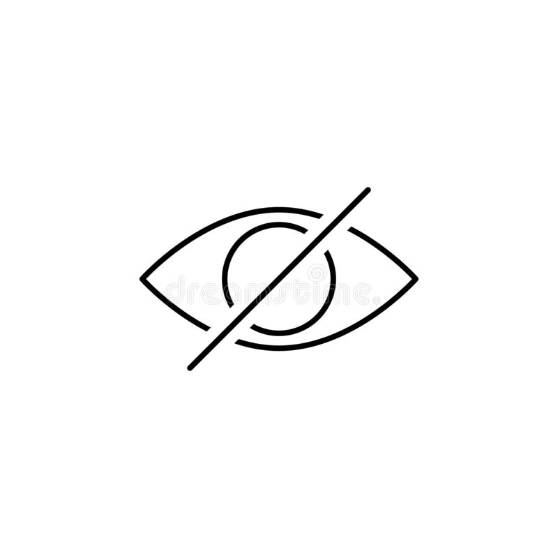 Disable eye hide outline icon. Signs and symbols can be used for web, logo, mobile app, UI, UX royalty free illustration