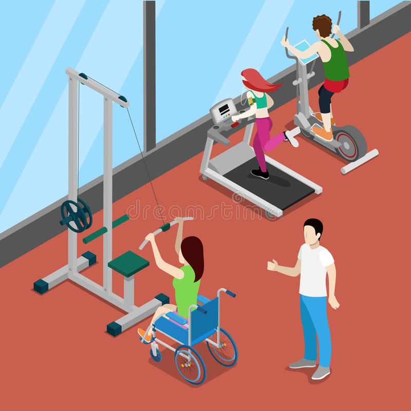 Disable Woman on Wheelchair Exercising in Gym. Disability Isometric People. vector illustration