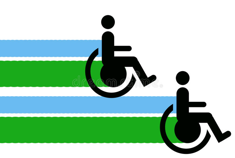 Disabled. Abstract creative symbolic image of relations between disabled persons and their protection stock illustration