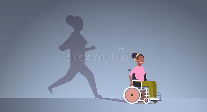 Disabled african american girl on wheelchair dreaming about recovery shadow of healthy woman running imagination vector illustration