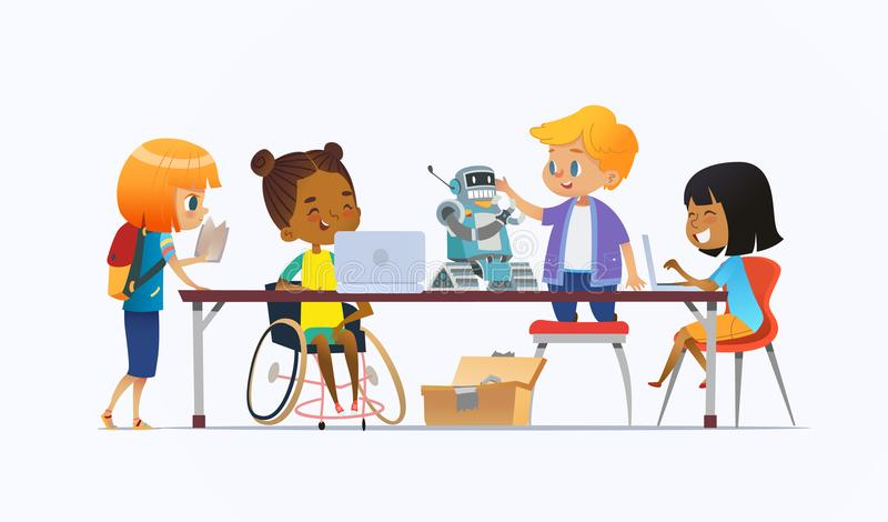 Disabled African American girl in wheelchair and other children standing around desk with laptops and robot and working. On school project for programming royalty free illustration