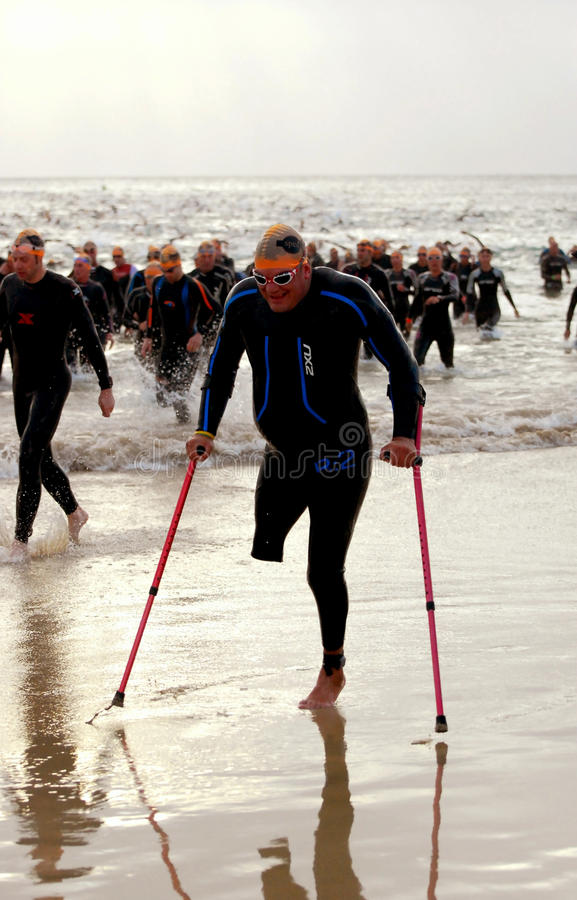 Disabled athlete at Ironman royalty free stock photos