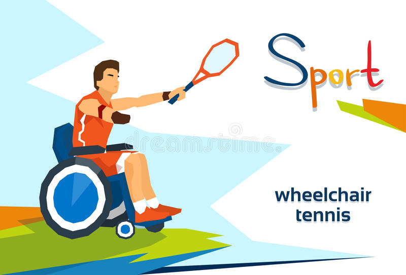 Disabled Athlete On Wheelchair Play Tennis Sport Competition vector illustration