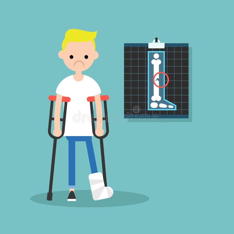Disabled blond boy on crutches with broken leg / royalty free illustration
