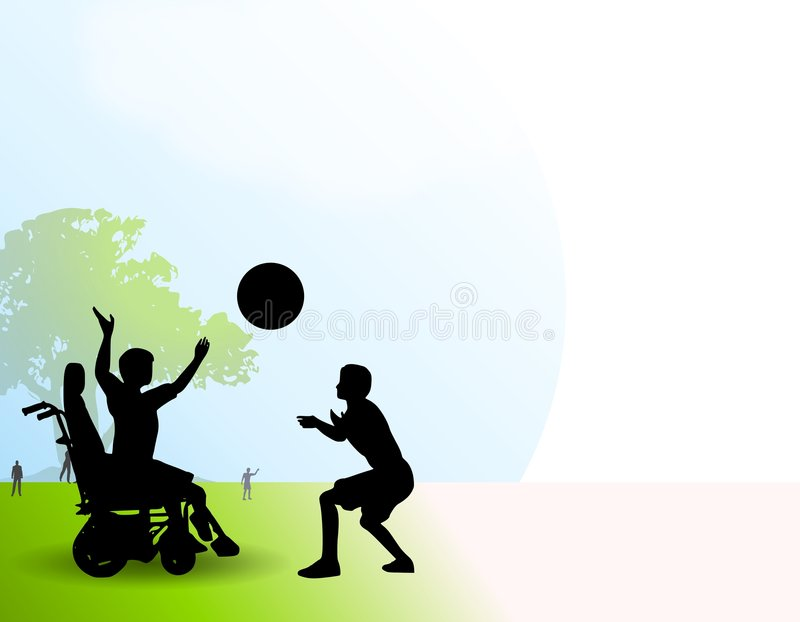 Disabled Boy Playing Ball Park. An illustration featuring a pair of boys playing ball in the park. One is clearly disabled in a wheelchair royalty free illustration