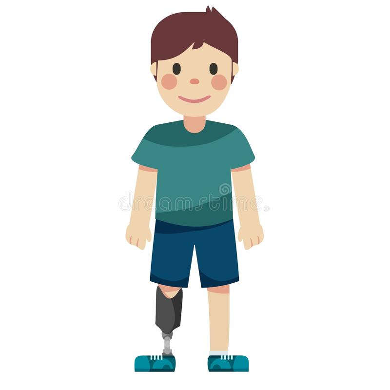 Disabled boy with a prosthetic leg. Illustration stock illustration