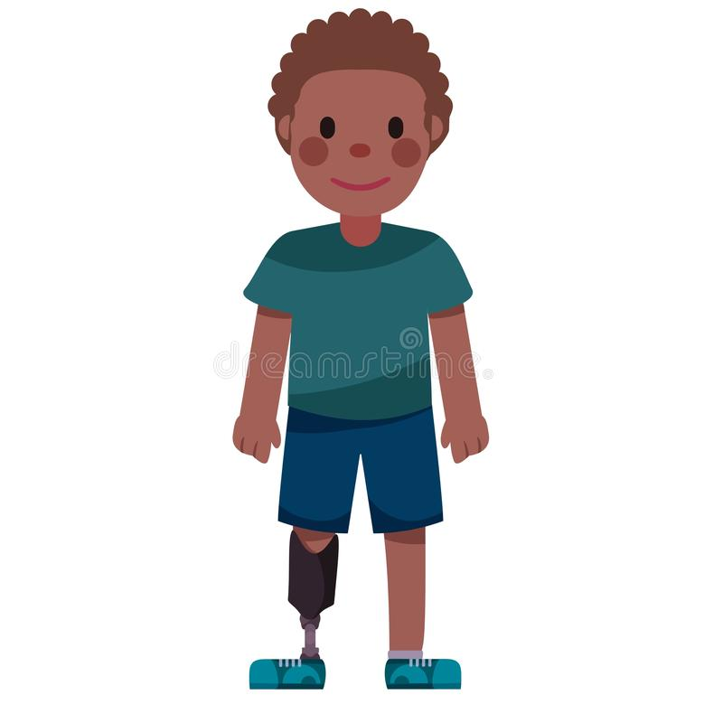 Disabled boy with a prosthetic leg. Illustration vector illustration