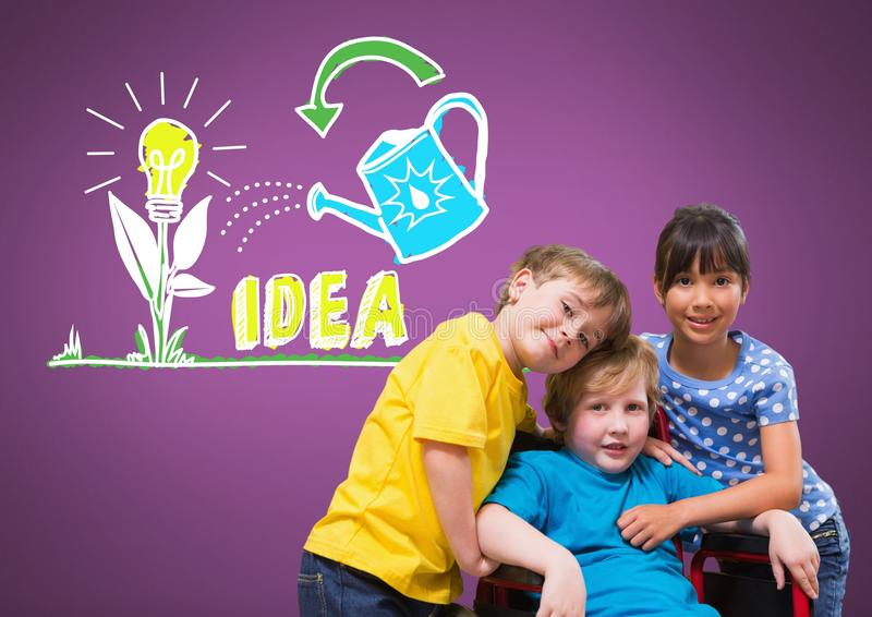 Disabled boy in wheelchair with friends with idea graphics stock images