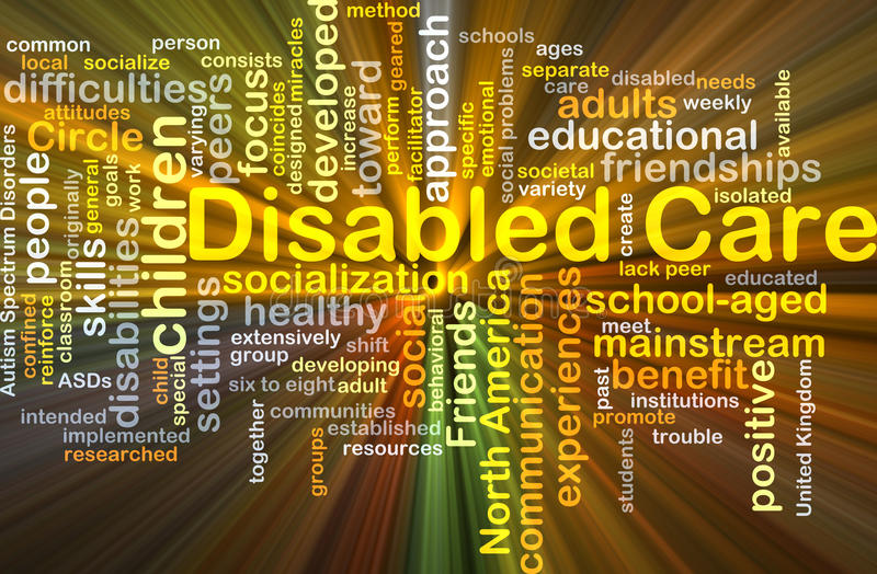 Disabled care background concept glowing royalty free illustration