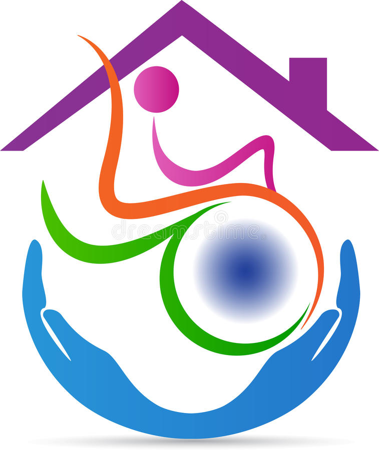 Disabled care home logo. A vector drawing represents disabled care home logo design stock illustration