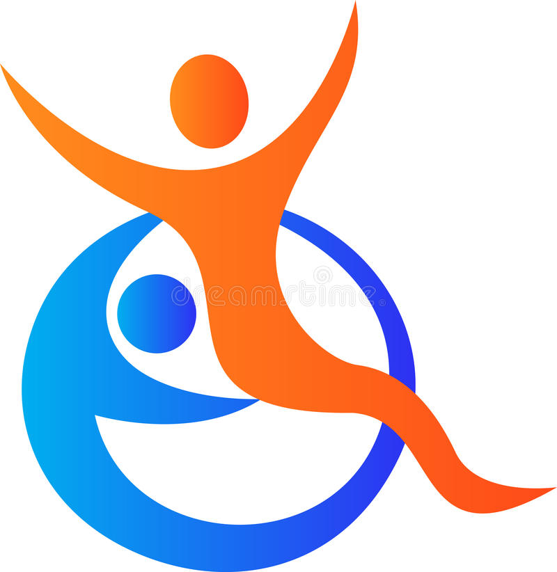 Disabled care logo. A vector drawing represents disabled care logo design royalty free illustration