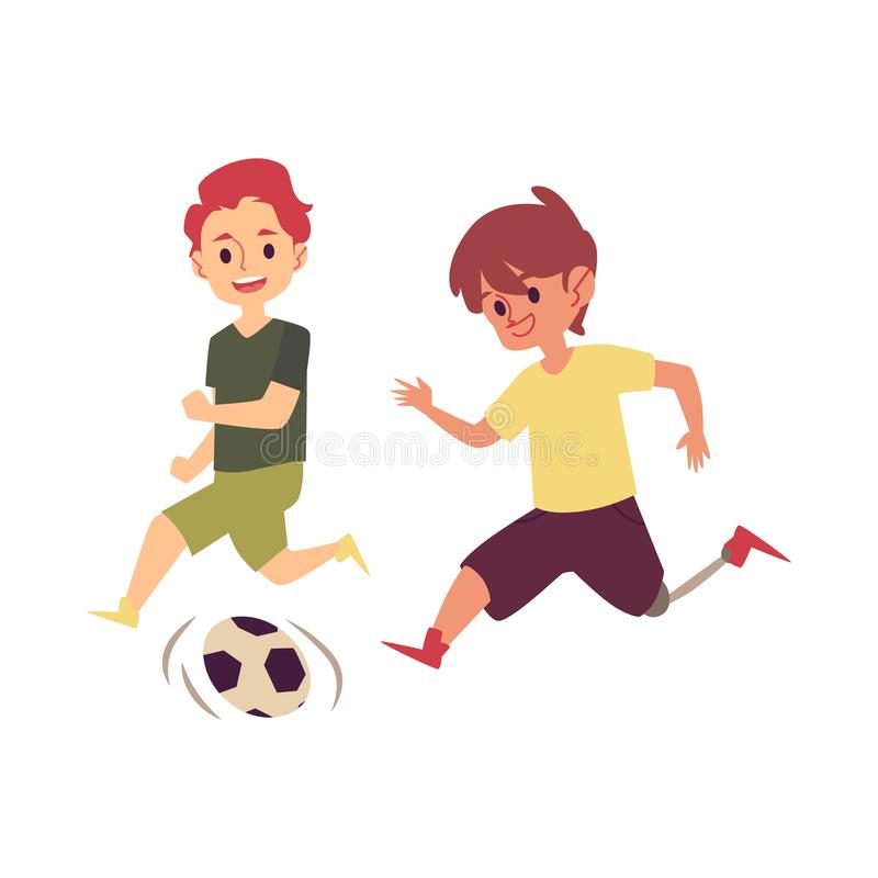 Disabled child playing soccer game with friend, happy cartoon boy with prosthetic leg. Kicking a football to score goal. Kid with disability running with a ball vector illustration