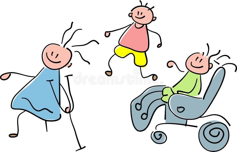 Disabled children. Line art disabled children cartoon image stock illustration
