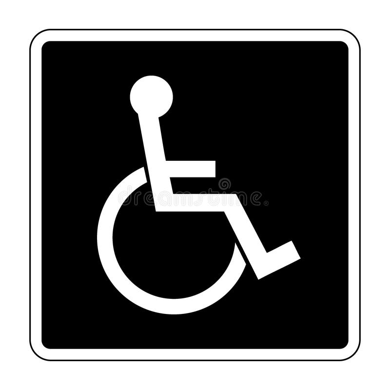 For the disabled. Disabled sign. Handicapped person icon in a black square isolated on white background. Illustrations of warning emblem and permissive symbol royalty free illustration