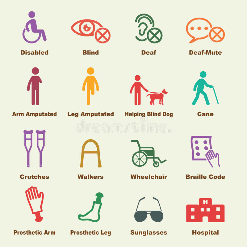 Disabled elements. Vector infographic icons stock illustration