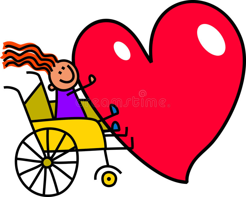 Disabled Girl with Big Heart vector illustration