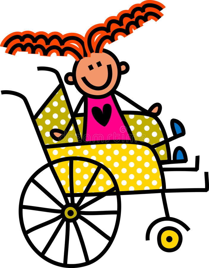 Disabled Girl. Happy stick disabled child sitting in a yellow polka dot wheelchair royalty free illustration