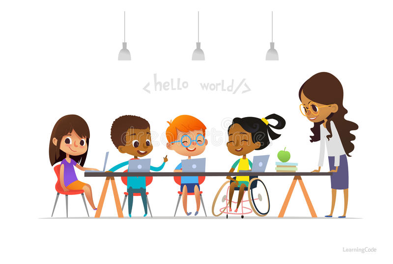 Disabled girl in wheelchair and other children sitting at laptops and learning coding during informatics lesson. School inclusive. Education concept. Vector royalty free illustration