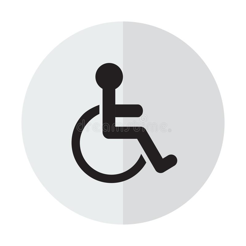 Disabled Handicap Icon. On a background with a vertical shadow royalty free illustration