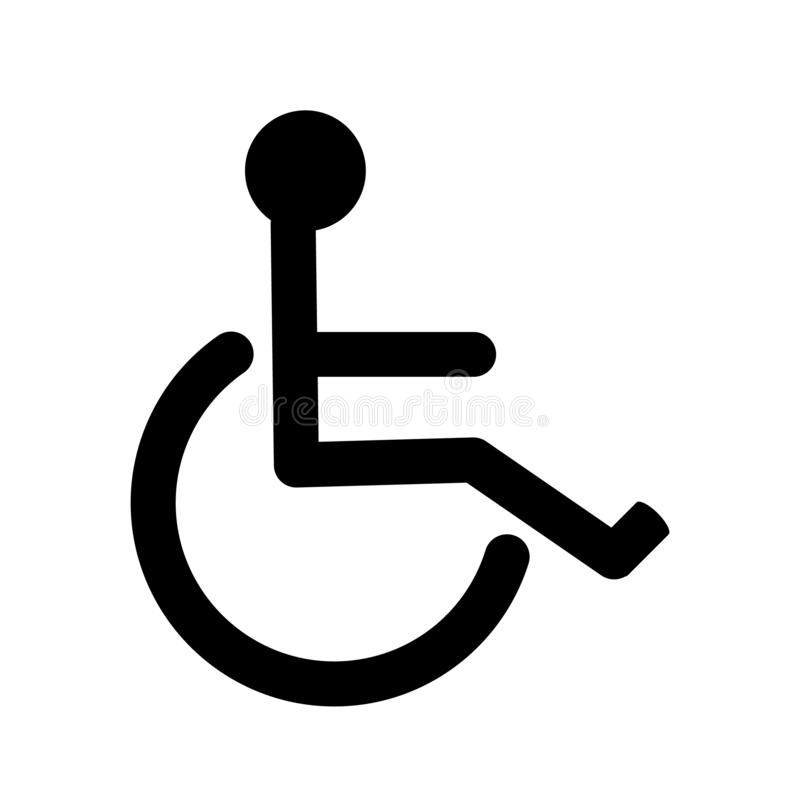 Disabled handicap icon, wheelchair parking sign isolated. For different needs stock illustration