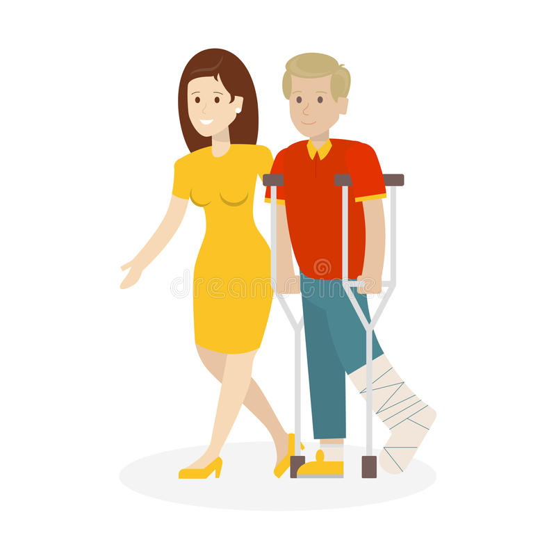Disabled with helper. Woman helps man with crutches. Leg in plaster royalty free illustration