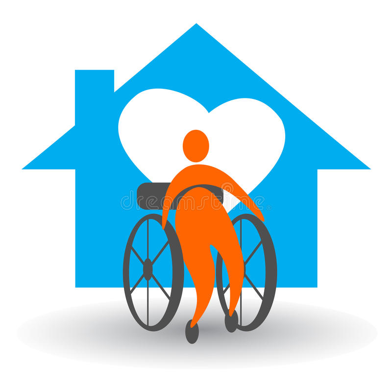 Disabled home care. Illustration of disabled home care design on white background royalty free illustration