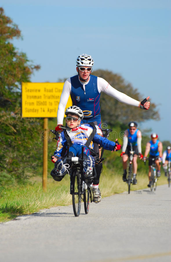 Disabled Ironman triathlete stock images