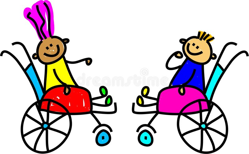 Disabled kids. A little disabled boy and girl making friends - toddler art series stock illustration