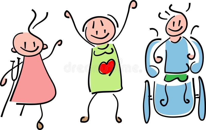 Disabled kids. Line art disabled children cartoon image royalty free illustration