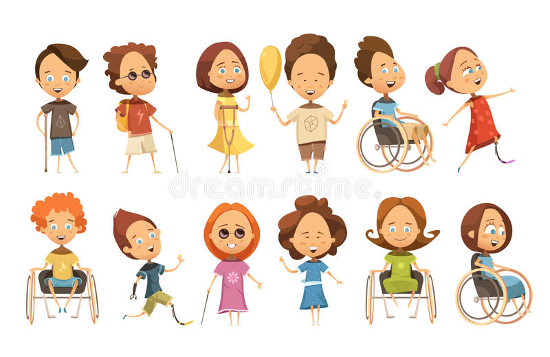 Disabled Kids Set. Set of disabled kids on wheelchair with crutch and prosthetic limbs blind persons vector illustration vector illustration