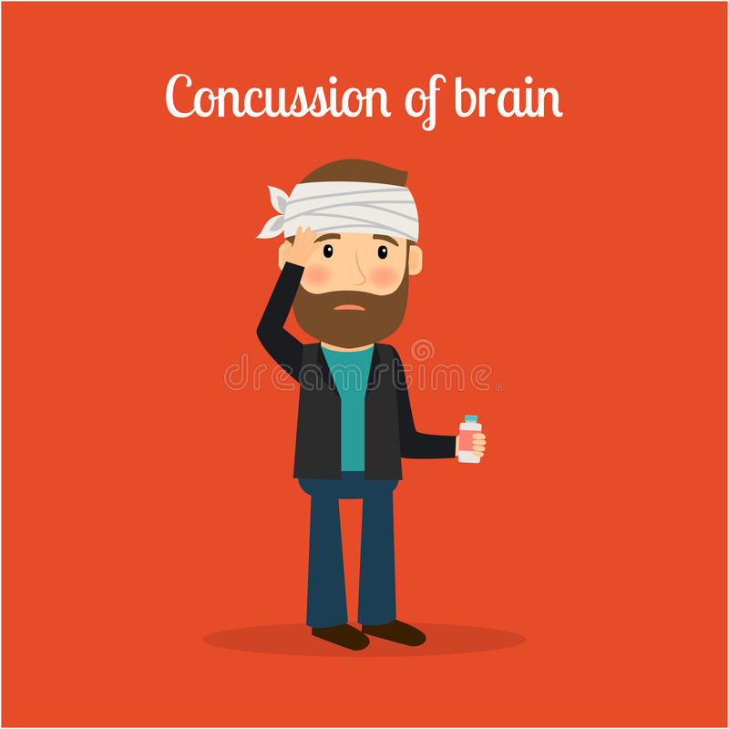 Disabled man with concussion of brain. Disabled people in cartoon, concussion of brain. Vector illustration vector illustration