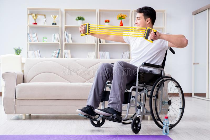 The disabled man recovering from injury at home. Disabled man recovering from injury at home royalty free stock images