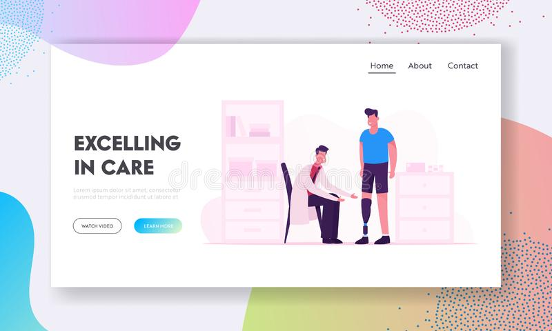 Disabled Man Recreation in Clinic Website Landing Page. Smiling Doctor Communicate with Patient Having Leg Prosthesis stock illustration