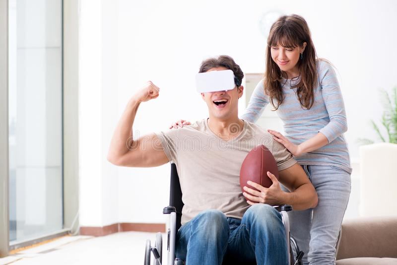 The disabled man with virtual glasses royalty free stock photos