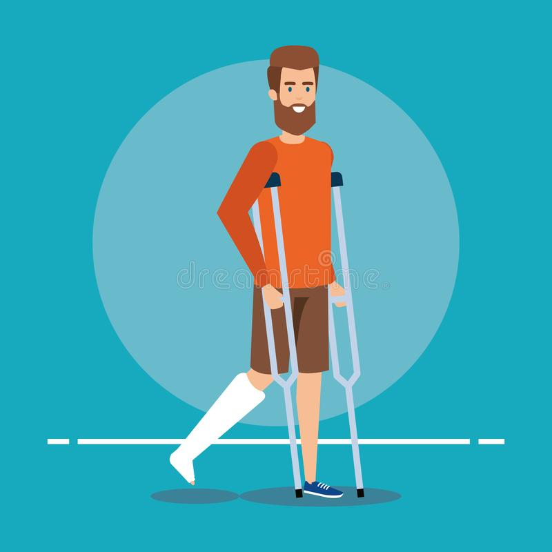 Disabled man walking with crutches for leg fracture. Vector illustration stock illustration