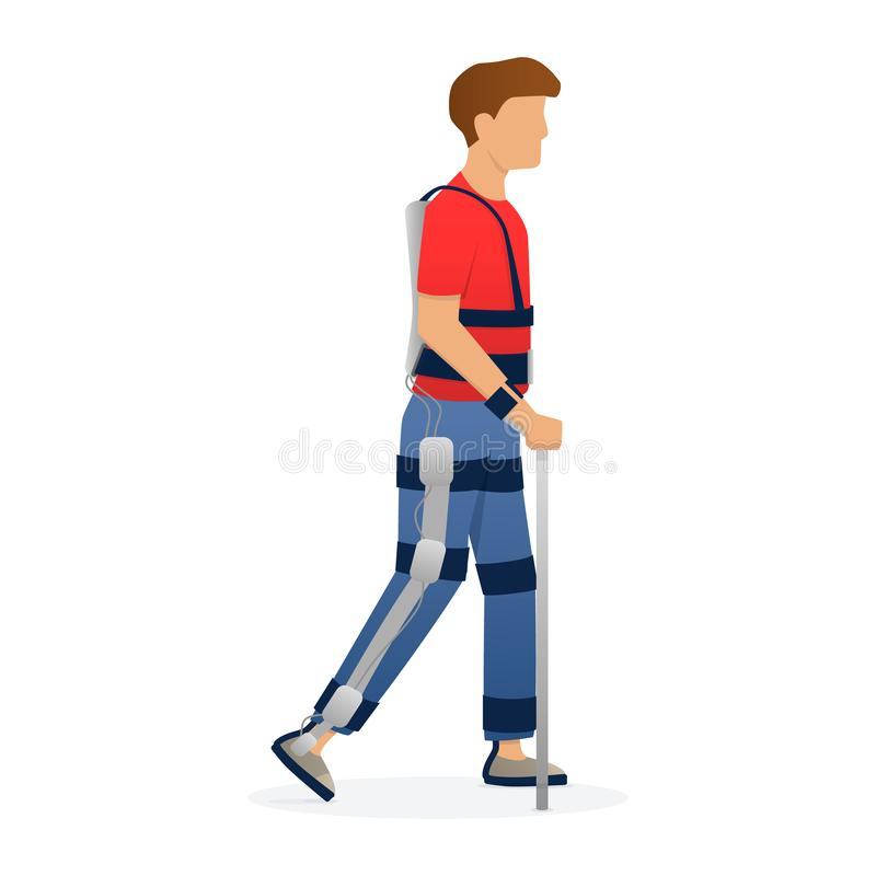 Disabled man walking with medical exoskeleton. Medicine of the future, bionics technology. Vector. Disabled man walking with medical exoskeleton. Medicine of royalty free illustration