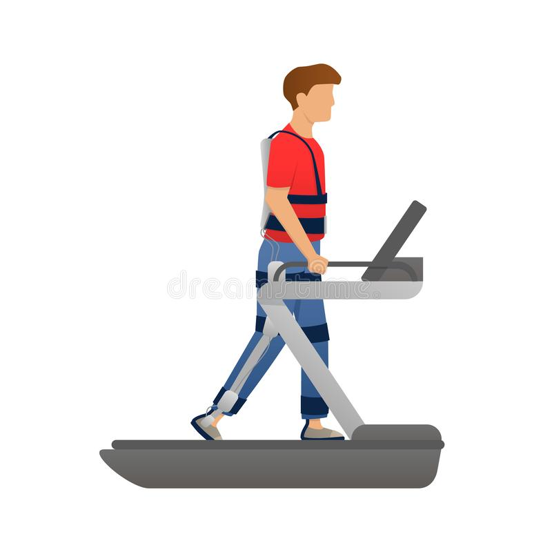 Disabled man walking with medical exoskeleton on treadmill. Medicine of the future, bionics technology. Vector. Disabled man walking with medical exoskeleton on stock illustration