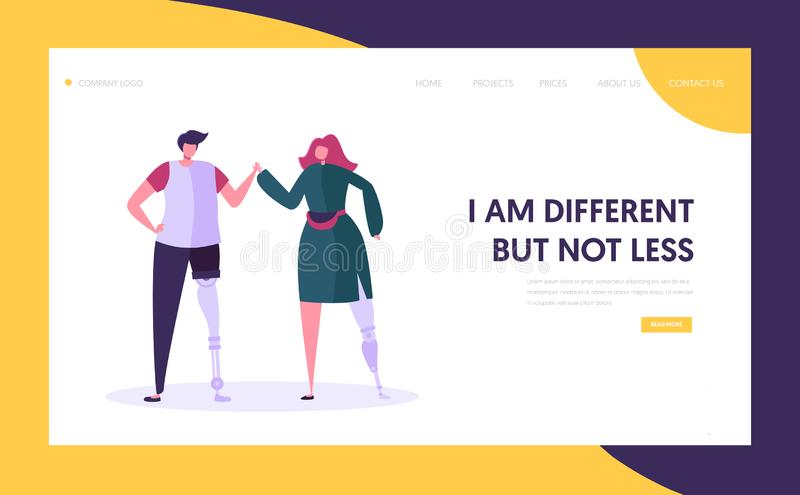 Disabled Man and Woman with Leg Prosthesis Holding Hands, Motivation and Bodypositive Concept. Invalids Family or Friends. Couple Website Landing Page, Web Page royalty free illustration