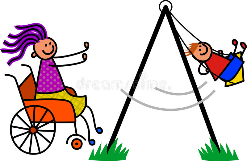 Disabled Mother. Happy cartoon stick boy being pushed on the swing by his disabled mum royalty free illustration
